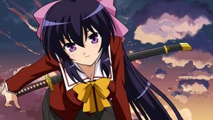 Rating: Safe Score: 75 Tags: close himari katana long_hair omamori_himari seifuku sky sword weapon User: Fenel