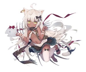 Rating: Safe Score: 87 Tags: animal_ears bandage barefoot blush bones catgirl dark_skin dolphro-kun fang flat_chest garter_belt green_eyes loli long_hair navel necklace original ribbons scarf skirt stockings tail thighhighs white white_hair wristwear User: BattlequeenYume