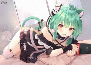 Rating: Safe Score: 72 Tags: animal_ears blush catgirl dress fang game_console garter_belt green_hair hololive red_eyes shiina_aoi signed stockings tail uruha_rushia wristwear zettai_ryouiki User: BattlequeenYume