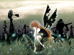 Rating: Safe Score: 25 Tags: crying dress orange_hair windmill wings User: Oyashiro-sama