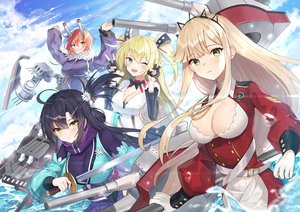 Rating: Safe Score: 48 Tags: anthropomorphism blue_oath breasts cleavage cleveland_(blue_oath) dopoing group hood_(blue_oath) katana long_hair mechagirl sword tagme_(character) water weapon User: Dreista