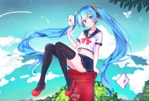 Rating: Safe Score: 96 Tags: aqua_eyes aqua_hair clouds hatsune_miku leaves long_hair navel paper seifuku sky twintails vocaloid z_shichao User: mattiasc02