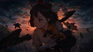 Rating: Safe Score: 81 Tags: autumn black_hair camera chun_lanlanlan close clouds dark fan hat leaves red_eyes shameimaru_aya short_hair skirt sky sunset touhou wings User: otaku_emmy