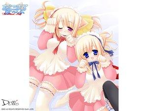 Rating: Safe Score: 18 Tags: animal_ears blonde_hair blue_eyes blush bow catgirl headdress maid panties ribbons striped_panties thighhighs underwear wink User: Oyashiro-sama