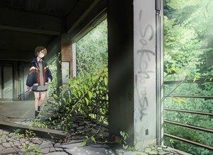Rating: Safe Score: 48 Tags: brown_eyes brown_hair building graffiti leaves original ruins sakeharasu scenic seifuku short_hair signed skirt User: otaku_emmy