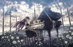 Rating: Safe Score: 136 Tags: blue_eyes clouds flowers instrument isou_nagi long_hair megurine_luka piano pink_hair rose vocaloid User: Wizzard