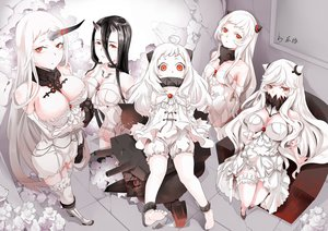Rating: Safe Score: 113 Tags: airfield_hime anthropomorphism battleship-symbiotic_hime black_hair bloomers blush boots breasts choker cleavage dress flowers garter group horns kabaneneko kantai_collection loli midway_hime northern_ocean_hime orange_eyes polychromatic rose seaport_hime signed stockings thighhighs white_hair User: luckyluna