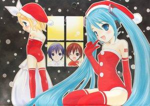 Rating: Safe Score: 36 Tags: blue_hair christmas group hat hatsune_miku kagamine_rin kaito male meiko santa_costume santa_hat snow thighhighs vocaloid winter User: 秀悟