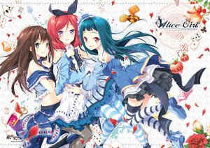 Rating: Safe Score: 87 Tags: alice_in_wonderland aqua_eyes aqua_hair brown_hair crossover dress flowers food hat headdress idolmaster_cinderella_girls long_hair love_live!_school_idol_project mocha_(naturefour) navel nishikino_maki pantyhose petals purple_eyes red_eyes red_hair shibuya_rin short_hair skirt tendouji_musubi thighhighs tokyo_7th_sisters User: Flandre93
