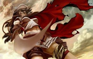 Rating: Safe Score: 113 Tags: anthropomorphism bicolored_eyes cape hat kantai_collection katahira kiso_(kancolle) scar skirt sword weapon User: Flandre93
