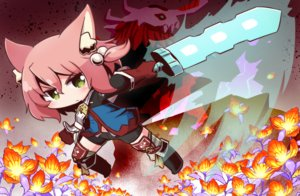 Rating: Safe Score: 19 Tags: 7th_dragon animal_ears boots catgirl chibi flowers gloves green_eyes harukara_(7th_dragon) naga_u navel pink_hair short_hair shorts sword weapon User: otaku_emmy