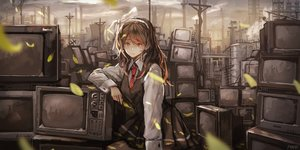 Rating: Safe Score: 57 Tags: bow brown_eyes brown_hair headband leaves original polychromatic pvmivs scenic school_uniform skirt tie User: FormX