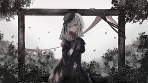 Rating: Safe Score: 67 Tags: braids corset elbow_gloves flowers gloves gothic hat headdress leaves nekojita_(ika_neko46) original polychromatic red_eyes ribbons rose short_hair User: Dreista