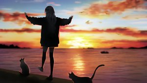 Rating: Safe Score: 113 Tags: agnamore animal cat original silhouette sky sunset waifu2x water zettai_ryouiki User: BattlequeenYume