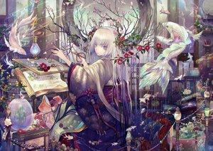 Rating: Safe Score: 37 Tags: animal blue_eyes fish flowers horns japanese_clothes kimono long_hair magic original sakumamitsuro white_hair User: BattlequeenYume