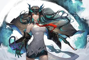Rating: Safe Score: 98 Tags: arknights black_hair dusk_(arknights) long_hair open_shirt pointed_ears red_eyes skirt spade-m tail User: BattlequeenYume