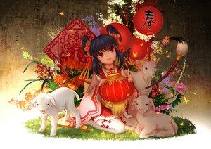 Rating: Safe Score: 70 Tags: animal black_hair dress flowers huazha01 original red_eyes twintails User: RyuZU