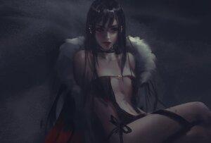 Rating: Safe Score: 60 Tags: black_hair consort_yu_(fate) dark dress fate/grand_order fate_(series) long_hair navel no_bra realistic wlop User: BattlequeenYume