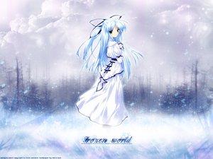Rating: Safe Score: 20 Tags: blue_hair clouds dress green_eyes kisaragi_sarasa long_hair sorairo_no_organ ueda_ryou vector User: Oyashiro-sama