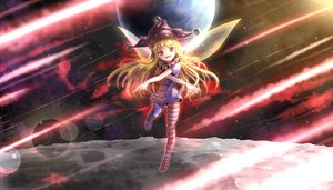 Rating: Safe Score: 7 Tags: blonde_hair clownpiece dress fairy hat long_hair minust moon pantyhose red_eyes stars touhou User: luckyluna
