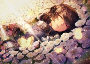 Rating: Safe Score: 50 Tags: armor braids brown_hair butterfly flowers kuroi_susumu long_hair original sleeping User: BattlequeenYume