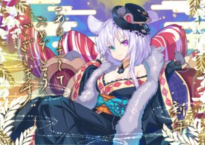 Rating: Safe Score: 41 Tags: animal animal_ears bicolored_eyes breasts cleavage hat japanese_clothes kimono mouse mousegirl nyori original User: BattlequeenYume