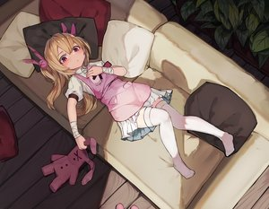 Rating: Safe Score: 116 Tags: apron bandage blonde_hair bunny couch loli long_hair natori_sana natori_youkai nurse red_eyes sana_channel thighhighs wristwear User: gnarf1975