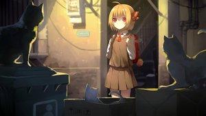 Rating: Safe Score: 51 Tags: animal blonde_hair cat red_eyes rumia school_uniform sh_(562835932) short_hair skirt touhou User: RyuZU
