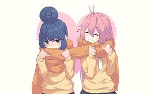 Rating: Safe Score: 41 Tags: 2girls blue_hair blush kagamihara_nadeshiko neps-l pink_hair purple_eyes scarf school_uniform shima_rin signed skirt tie waifu2x yuru_camp User: RyuZU