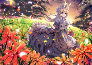 Rating: Safe Score: 73 Tags: animal_ears blonde_hair blue_eyes bow bunny_ears clouds dress flowers grass headdress lolita_fashion long_hair original sky umi_no_mizu User: BattlequeenYume