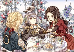 Rating: Safe Score: 20 Tags: animal aqua_eyes bicolored_eyes bird blonde_hair book braids cattleya_baudelaire cheese_kang drink flowers food gray_hair long_hair lux_sibyl short_hair violet_evergarden violet_evergarden_(character) User: RyuZU