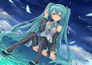 Rating: Safe Score: 55 Tags: aqua_eyes aqua_hair hatsune_miku kame^^ long_hair night tie twintails vocaloid User: FormX
