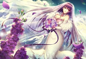 Rating: Safe Score: 34 Tags: breasts cleavage dress elbow_gloves fate/grand_order fate_(series) flowers gloves headdress long_hair meaomao petals purple_hair red_eyes ribbons scathach_(fate/grand_order) wedding_attire User: luckyluna