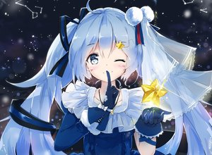 Rating: Safe Score: 116 Tags: blue_eyes blue_hair bow cropped gloves hatsune_miku headdress kyod+ long_hair necklace night ribbons stars twintails vocaloid wink User: luckyluna