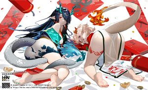 Rating: Safe Score: 72 Tags: 2girls arknights barefoot blue_hair chinese_clothes chinese_dress dress dusk_(arknights) food han-0v0 horns nian_(arknights) pointed_ears purple_eyes signed sketch tail watermark white_hair User: BattlequeenYume