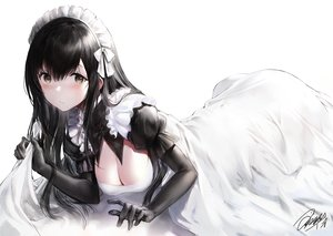 Rating: Safe Score: 99 Tags: black_hair blush breasts brown_eyes cleavage elbow_gloves gloves haori_iori long_hair maid original signed User: BattlequeenYume