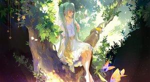 Rating: Safe Score: 43 Tags: aqua_hair barefoot butterfly dress hatsune_miku kirayoci long_hair stars tree twintails vocaloid User: RyuZU
