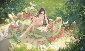 Rating: Safe Score: 126 Tags: animal atdan barefoot bird breasts brown_eyes brown_hair butterfly cleavage flowers forest grass long_hair naked_shirt original shirt signed tree User: luckyluna