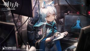 Rating: Safe Score: 64 Tags: animal_ears arknights cape ciloranko computer gloves green_eyes hoodie logo long_hair rosmontis_(arknights) white_hair User: Nepcoheart