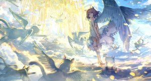 Rating: Safe Score: 159 Tags: angel animal animal_ears brown_hair cat catgirl clouds dress gray_eyes halo observerz original short_hair signed summer_dress tail wings User: RyuZU