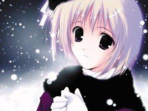 Rating: Safe Score: 17 Tags: gloves purple_eyes snow tagme white_hair User: Oyashiro-sama
