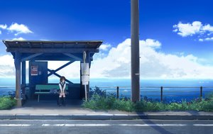 Rating: Safe Score: 54 Tags: clouds grass kneehighs original sakeharasu scenic school_uniform short_hair skirt sky summer water User: FormX