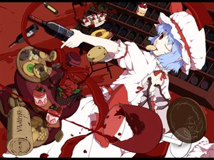 Rating: Safe Score: 84 Tags: 0-1-0 blue_hair cake flowers food fruit hat red_eyes remilia_scarlet ribbons rose strawberry touhou vampire wings User: PAIIS