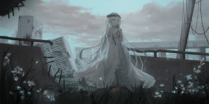 Rating: Safe Score: 88 Tags: building chihuri405 city clouds dark dress flowers headdress long_hair original ruins sky white_hair User: BattlequeenYume