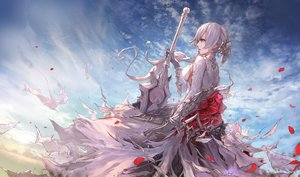 Rating: Safe Score: 150 Tags: breasts clouds elbow_gloves gloves gray_hair green_eyes jname long_hair petals ponytail sideboob sinoalice sky snow_white_(sinoalice) sword torn_clothes weapon User: RyuZU