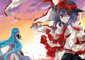 Rating: Safe Score: 23 Tags: 2girls bow clouds dress hat hinanawi_tenshi kyrish nagae_iku red_eyes sky sunset tie touhou User: Amperrior