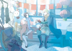 Rating: Safe Score: 25 Tags: axis_powers_hetalia black_hair blonde_hair china_(hetalia) drink food male pocket_(fukuroko) scarf united_kingdom_(hetalia) User: PAIIS