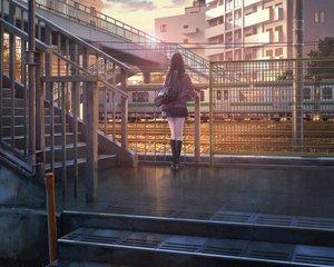 Rating: Safe Score: 130 Tags: black_hair building clouds cropped kneehighs long_hair original school_uniform sho_(shoichi-kokubun) skirt sky stairs train tree User: RyuZU
