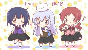 Rating: Safe Score: 15 Tags: animal blue_eyes blue_hair blush chibi drink gochuumon_wa_usagi_desu_ka? gray_hair jouga_maya kafuu_chino kneehighs long_hair mitarashi_neko natsu_megumi red_eyes red_hair short_hair skirt skirt_lift tippy_(gochiusa) twintails uniform waitress wink yellow_eyes User: otaku_emmy