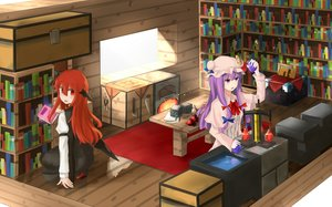 Rating: Safe Score: 111 Tags: 2girls book crossover demon hat hinami047 koakuma long_hair mage minecraft patchouli_knowledge purple_eyes purple_hair red_hair touhou wings User: Flandre93
